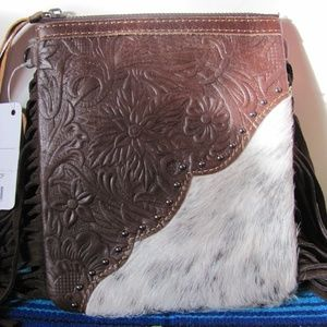 MONTANA WEST  GENUINE LEATHER  HAIR ON  CROSS BODY